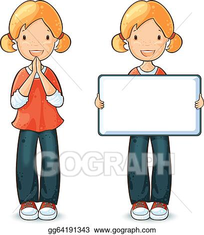 Vector Art - Girl with different expressions  Clipart Drawing