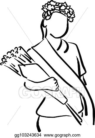 Vector Stock Girl With Flower Crown And Sash Holding Bouquet