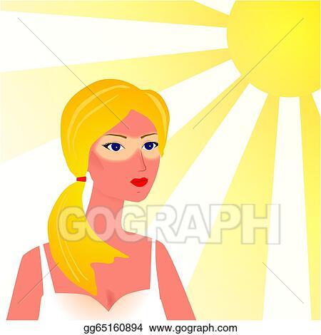 eps illustration girl with skin sunburn in the beach vector rh gograph com funny sunburn clipart Burn Clip Art
