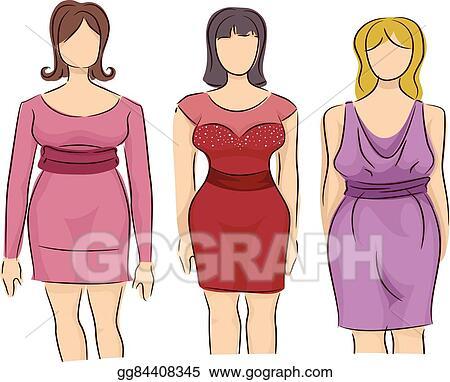Vector Art Girls Fashion Style Mannequin Plus Size Dress Clipart