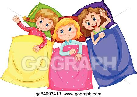 vector art girls in pajamas at slumber party clipart drawing rh gograph com slumber party clipart free slumber party clipart free