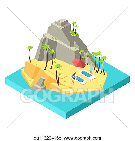 Clip Art Vector Girls Relax And Work On The Island Beach