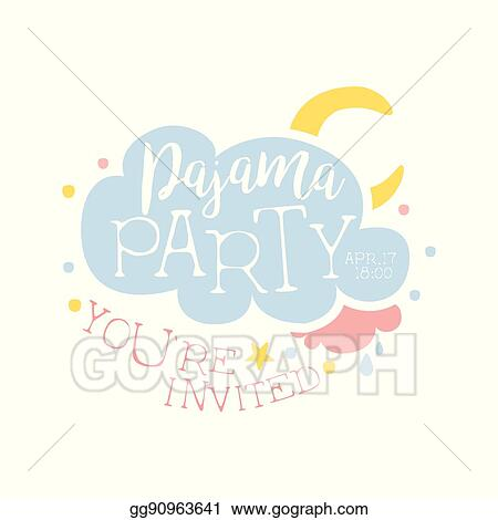 vector clipart girly pajama party invitation card template with