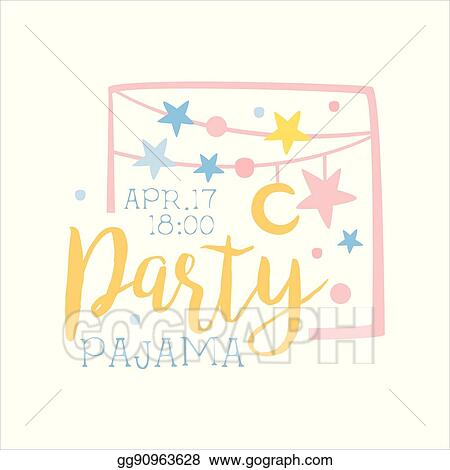 vector art girly pajama party invitation card template with