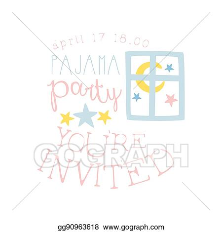 vector stock girly pajama party invitation card template with