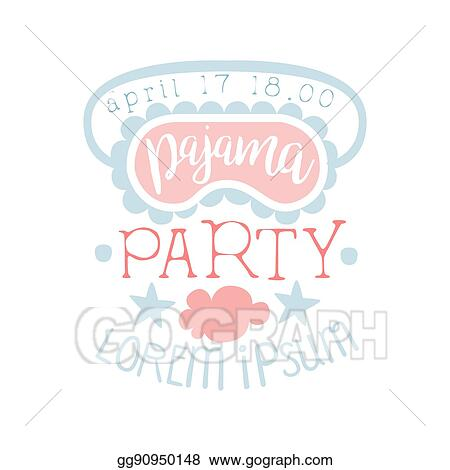 vector illustration girly pajama party invitation card template