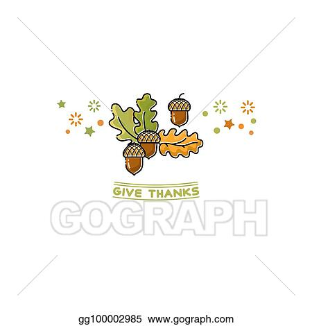 Vector Clipart Give Thanks Card Cartoon Acorn On White Vector