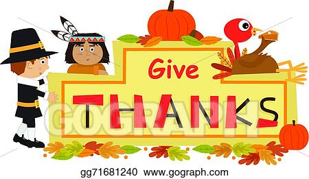 Vector Stock Give Thanks Sign Clipart Illustration Gg71681240