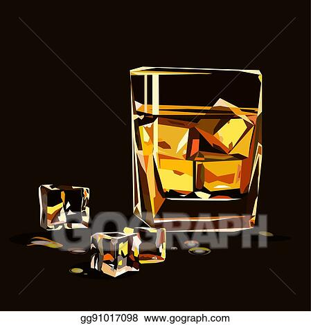 Eps Vector Glass Of Whiskey Isolated, Glass Ice Cubes Vector