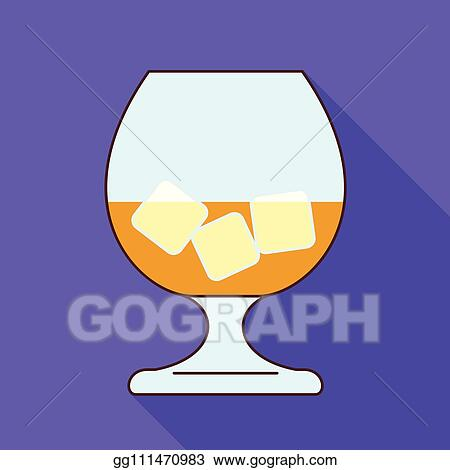 EPS Vector - Glass whiskey ice cube icon, flat style  Stock