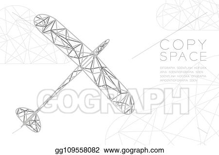 Clip Art Vector - Glider plane silver color and cloud wireframe low