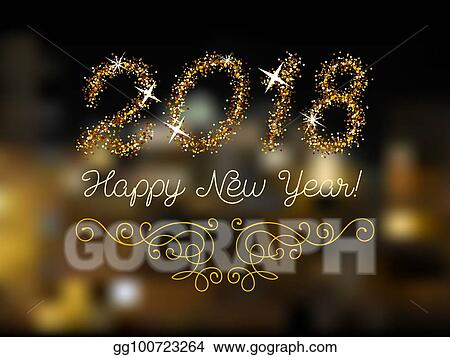 glitter gold lettering happy new year invitation