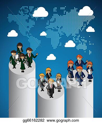 EPS Illustration - Global map business teamwork ranking