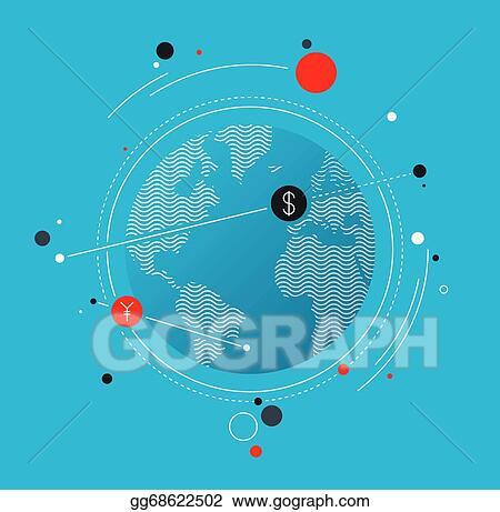 Vector Art Global Money Exchange Flat Illustration Concept