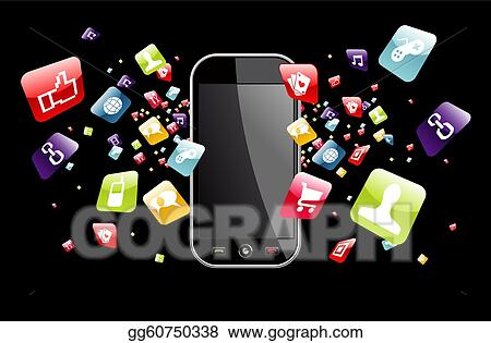 icons on iphone clip vector global smartphone apps icons splash 3320