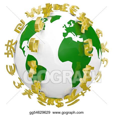 Stock Illustration Global World Currency Symbols Around World