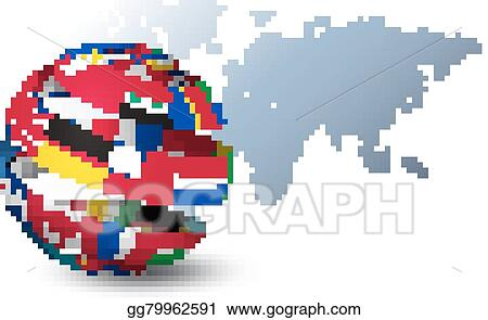 Vector art globe made out of flags on a world map background globe made out of flags on a world map background vector gumiabroncs Image collections