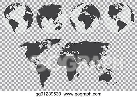 Vector Art - Globe set with world map on a transparent