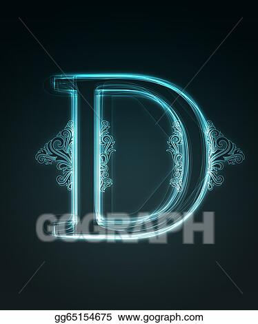 14527efd0093 Stock Illustration - Glowing font. shiny letter d. Clipart ...
