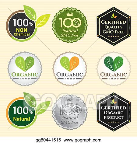 Clip Art Vector Gmo Free Non Gmo And Organic Guarantee Tag Logo