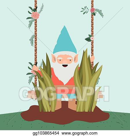 Gnome Character In The Garden With Label Wooden