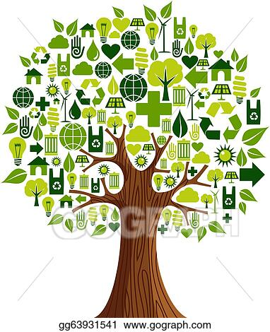 Vector Art Go Green Icons Concept Tree Clipart Drawing Gg63931541