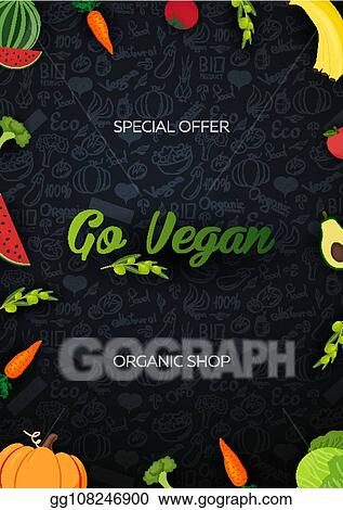 Vector Illustration Go Vegan Healthy Food Vegetarian Banner Hand Draw Doodle Background Vector Illustration Stock Clip Art Gg108246900 Gograph