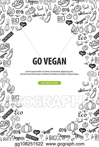 Vector Illustration Go Vegan Healthy Food Vegetarian Banner Hand Draw Doodle Background Vector Illustration Stock Clip Art Gg108251522 Gograph