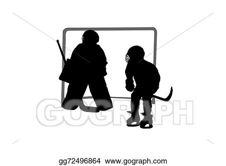 Stock Illustration Goalie And Hockey Player Silhouettes On A