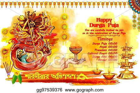 Vector Art - Goddess durga in happy dussehra background with