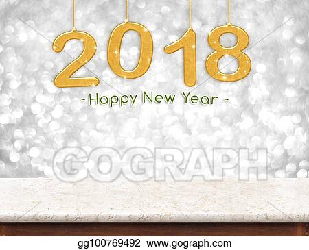 gold 2018 3d rendering happy new year hanging over marble table top with silver sparkling bokeh wallholiday conceptleave space for adding your content