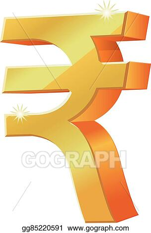 Eps Illustration Gold 3d Indian Rupee Currency Icon Vector