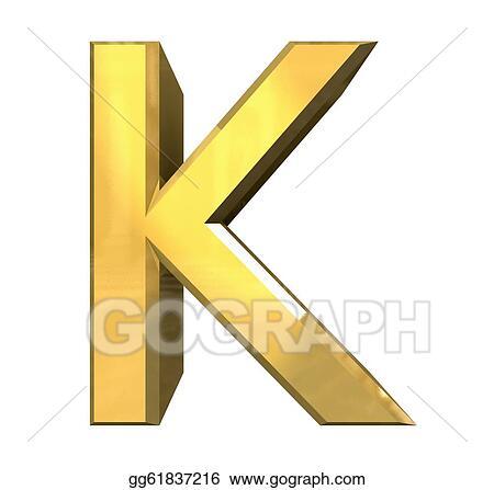 Gold 3d letter K