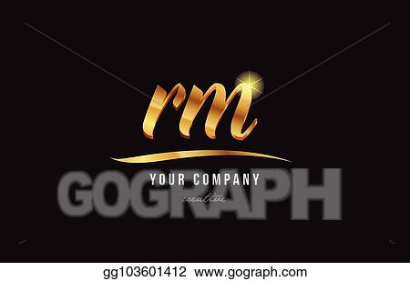 vector illustration gold alphabet letter rm r m logo combination icon design stock clip art gg103601412 gograph https www gograph com clipart license summary gg103601412