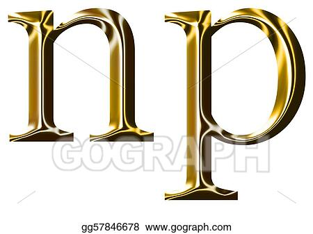 Stock Illustration Gold Alphabet Symbol N P Clipart Drawing