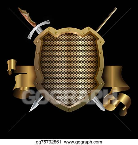 Stock Illustration - Gold ancient shield with spear and sword