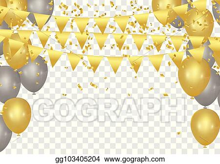 eps illustration gold balloons confetti and streamers on white