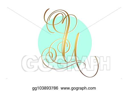 Gold Calligraphy Letter U On Circle Blue Background