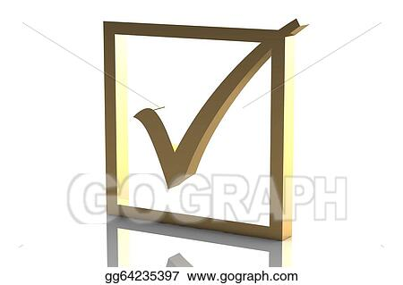 Stock Illustration - Gold color shiny tick   Clipart Drawing