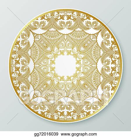 Gold decorative plate.  sc 1 st  GoGraph & Vector Illustration - Gold decorative plate. Stock Clip Art ...