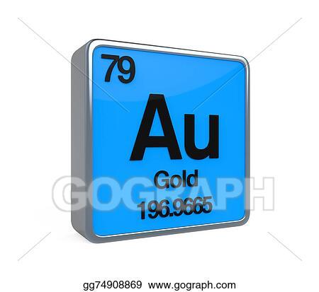 Stock Illustration Gold Element Periodic Table Clip Art