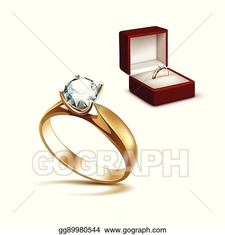Eps Illustration Gold Engagement Ring With Diamond In Jewelry Box
