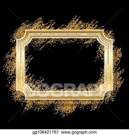 Glitter decorative. Vector clipart gold frame