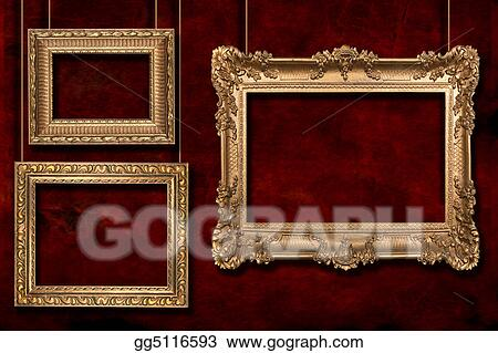 Clipart Gold Frames Hanging From Wire Poles Stock Illustration