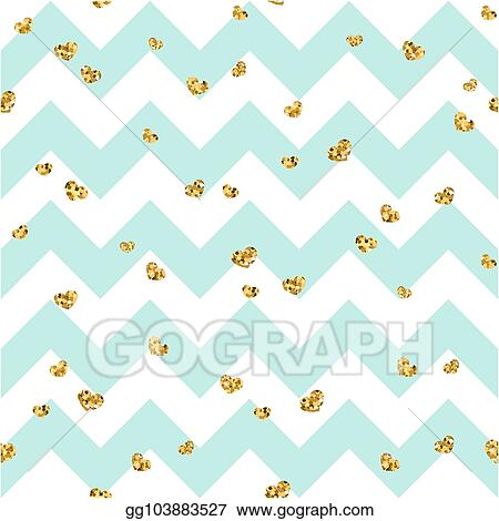 Vector Illustration Gold Heart Seamless Pattern Blue White