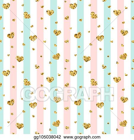 Vector Illustration Gold Heart Seamless Pattern Pink Blue White