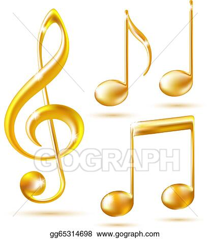 Music notes gold. Vector clipart icons of