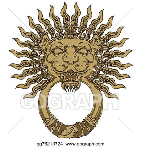 Gold Lion Head Door Knocker Hand Drawn