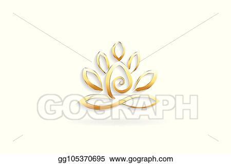 Vector Stock Gold Lotus Yoga Man Logo Stock Clip Art Gg105370695 Gograph