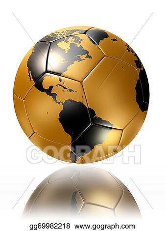 Stock illustrations gold soccer ball with world map america stock gold soccer ball with world map america gumiabroncs Images